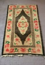 1930s TIbetan tibet tribal handknotted wool rug black tribal vintage  3x5