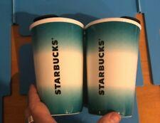 Starbucks Ceramic Tumbler Travel Mug Teal Ombré 8 oz New Lot Of 2 Black top