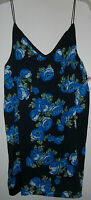 Womens Size S Small M Medium L Large Tank Top Shirt Blouse Black Blue Roses Spa
