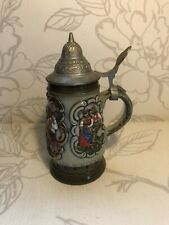More details for vintage drm western germany/lidded beer stein/king/ hand painted/collectable