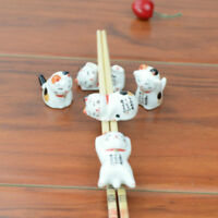 5x Japanese Ceramic Lucky Cat Chopstick Stand Racks Holders Porcelain Cute White