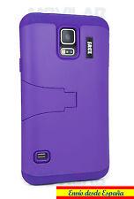 Funda Samsung G900 Galaxy S5 protectora / bumper con soporte violeta morado