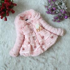 Kids Girls Baby Toddler Faux Fur Fleece Coat Winter Warm Jacket Parka Outerwear