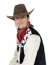 Cowboy Hat Brown Suede Look Wild West Rodeo Mens Western Fancy Dress Accessory