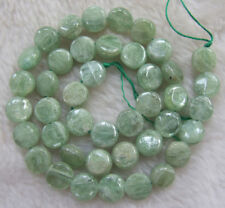 9mm Natural Green Kyanite Coin Loose Beads 15.5inch