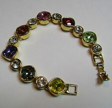 JOAN RIVERS GOLD-TONE MULTI-COLORED CRYSTAL CHUNKY BRACELET- NEW IN BOX