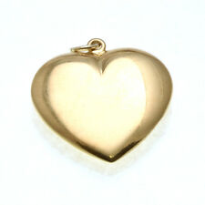Estate 14k yellow gold puffed heart pendant large Vintage