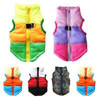 Pet Dog Cat Winter Padded Vest Coat Warm Clothes Zip Jackets Apparel Outdoor