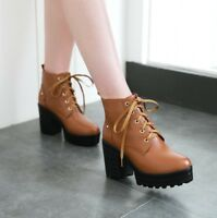 Women's Retro Ankle Boots Casual Shoes Platform High Heels Round Toe Lace Up