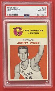 1961-62 Fleer Basketball #43 Jerry West Rookie Card PSA 4 VG-EX