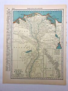1938 Vintage EGYPT Authentic Antique Atlas Map - Collier's World Atlas