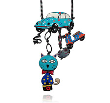 Lol Bijoux - Sautoir Pop Art - Collier Chat - Cox - Bouches - Vespa - Bleu