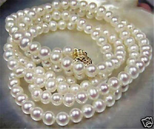 Beautiful! 7-8mm White Akoya Cultured Pearl Necklace 25""