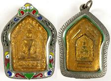 LP TIM GOLD PHRA KHUN PAEN BUDDHA AMULET 3 TAKRUT THAILAND SUPERB ENAMEL CASE