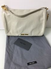 Authentic Small Beige Leather Wristlet Clutch Bag. Exc Cond. Card & Dustbag