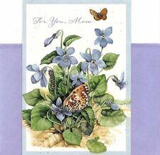 Happy Birthday Mom Purple Flowers & Butterflies Marjolein Bastin Hallmark Card