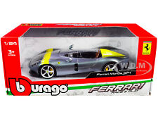 FERRARI MONZA SP1 SILVER W/YELLOW STRIPES 1/24 DIECAST MODEL CAR BBURAGO 26027