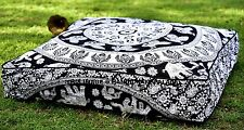 INDIAN ELEPHANT MANDALA OTTOMAN/FLOOR/SOFA SQUARE SEAT COVER DAYBED PILLOW COVER