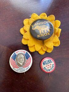 Political Pinback Buttons lot Landon Willkie Harding Pacific Coast Tour
