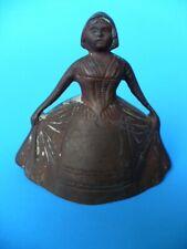 Antique Vintage Copper Bell of Dutch Girl in Bonnet Charming