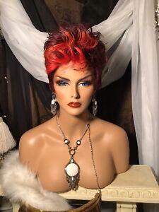 Trendy, Black W/Red Streaks, Pixie, Cute Or Punk Rock, Versatile Halloween Wig!