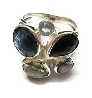 Multi Gemstone Natural Gemstone Ethnic 925 Sterling Silver Ring Size 8 SR-152