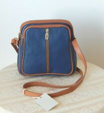 Nwt Valentina Made In Italy Blue Pebbled Leather Three Zippers Crossbody Purse