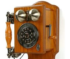 Antique Wall Phone Vintage Retro Telephone Rotary Dial Old Fashioned Wooden NEW