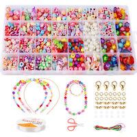 Girls Kids Child DIY Bracelet Craft Beads Jewellery Neckless Making Set Box Kit