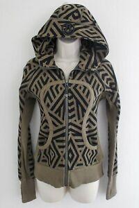 Lululemon Full Zip Up Scuba Hoodie Jacket Size 4 Black Green Geo Print