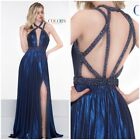 Nwt Color Couture 2129 Metalic Jersey Royal Blue Gown Emblished Top  $598