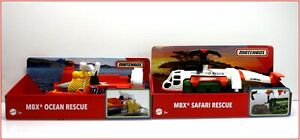 LOT 2- Matchbox MBX OCEAN RESCUE Hoovercraft Boat + SAFARI HELICOPTER & Figures