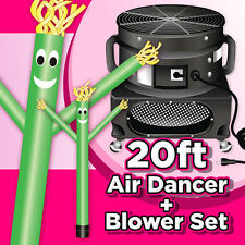 20ft Green Inflatable Wind Air Sky Dancer Sky Air Puppet & Weather-Proof Blower