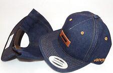New HOOey BLUE DENIM HAT CAP Rodeo Western Cowboy Leather adjustable back strap