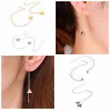 Women Ear Threader Long Chain Drop Dangle Earrings Triangle Round Ball Pendant