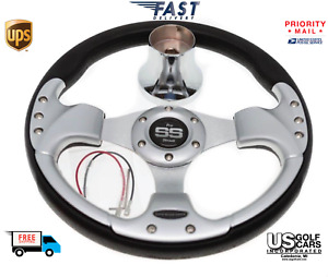 Club Car DS Steering Wheel with Hub Adapter - Black and Silver 1985 to Current