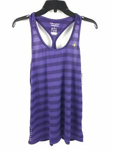 Champion Womens Double Dry Athletic Tank Large Purple Striped