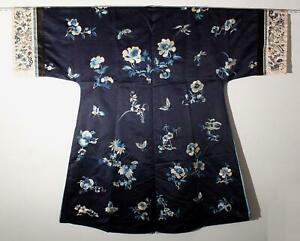 Antique 19thC Chinese Qing Period, Silk Hand Embroidered Surcoat Jacket Robe, NR
