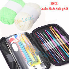 31PCS/SET Crochet Hooks Knitting Knit kit with Gauge Steel Hooks Yarn Needle Pin