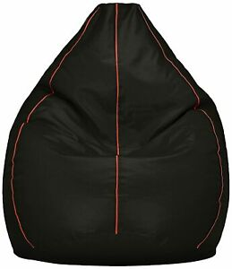 Bean bag Cover Leather Sofa Chair without Beans Black for luxuries Decor gift