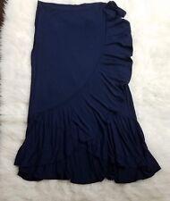 Womens Max Studio Long Ruffle Skirt Sz Large Blue F4