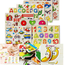 1 Pcs Hand Grasp Wooden Puzzle Toy Cartoon Educational Jigsaw Toy for Kids JG