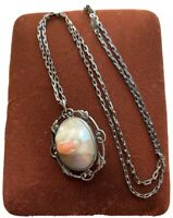 Art Deco Vintage Sterling Silver Blister Pearl Abalone Shell Pendant Necklace