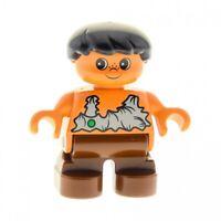 1x Lego Duplo Figur Kind Junge Steinzeit braun Haare schwarz Caveman 6453pb001