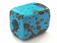 10 turquoise blue / black - Greek ceramic beads - 10.5x8mm - 3mm hole (1203tq-)