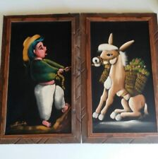 Pair of Vintage Black VELVET Mexican Painting Framed.Mexican holding a donkey