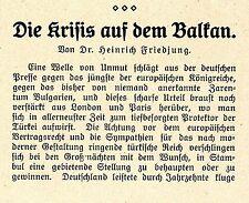 Dr.H.Friedjung Die Krisis auf dem Balkan Deutschlands u. Österreichs Inte...1908