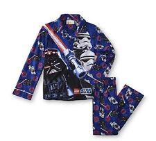 Star Wars LEGO Figures Pajamas Boys 8 NeW Button L/S Shirt Pants Flannel Pjs Set