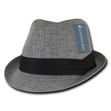 Charcoal Gray Brim Hipster Paper Straw Woven Braid Band Fedora Fedoras Hat L/XL