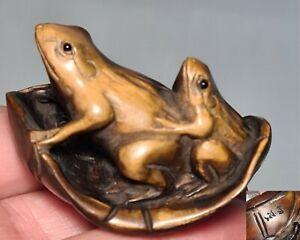 🔅 Japon Netsuké en bois en forme de grenouilles signé